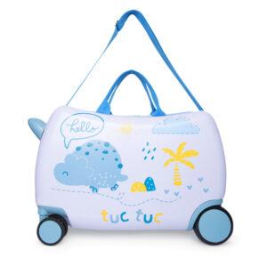 Maleta trolley niño de viaje Hello Dinos Azul Tuc Tuc