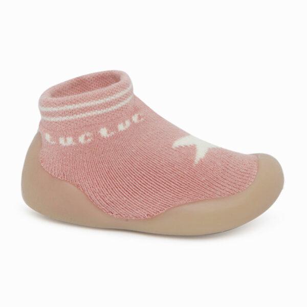 Zapato Calcetin Primeros Pasos Tuc Tuc Gris Rosa Boomtic